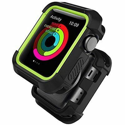 Rugged Silicone Case Cover Bumper For Apple Watch 38mm Series 3 2 1 Black Volt
