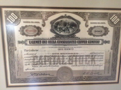 Calumet And Hecla Consolidated Copper Company Stock Certificate