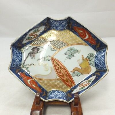 D759: Japanese OLD IMARI colored porcelain lozenge shaped plate with good work