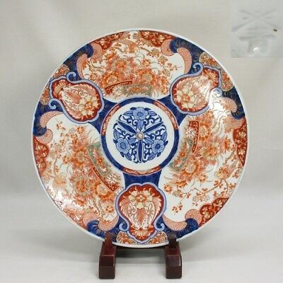 D771 Japanese OLD IMARI beautiful colored porcelain BIG plate with good painting
