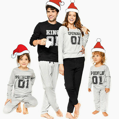 US Family Matching Christmas Pajamas Set Father Mother Kids Sleepwear Nightwear
