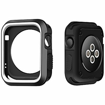 Silicone Case Cover Bumper For Apple Watch iWatch 42mm Series 3 2 1 Black White