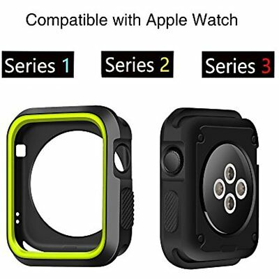 Silicone Case Cover Bumper For Apple Watch iWatch 42mm Series 3 2 1 Black Green