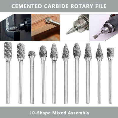 10Pcs Head Tungsten Carbide 6MM Rotary Point Burr Die Grinder Shank Bit Set DIY