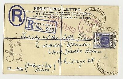 Nigeria 1934 Ebute Metta Registered Envelope to USA