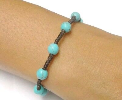 Handcrafted Thai Jewelry Turquoise BEAD Fair Trade Buddhist BRACELET Wristband