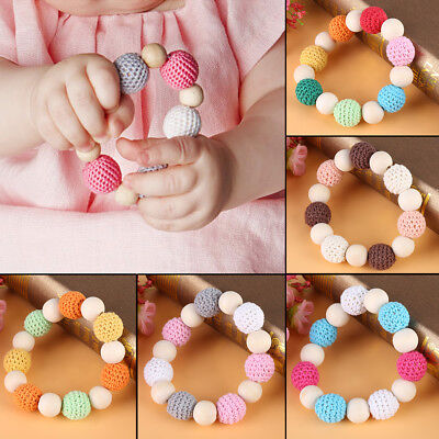 Wood Wooden Baby Teether Bracelet Crochet Beads Teething Ring Play Chewing Toy