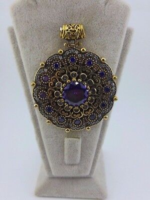 925 Sterling Silver Handcraft Turkish Jewelry Amethyst Gemstone Ladie's Pendant