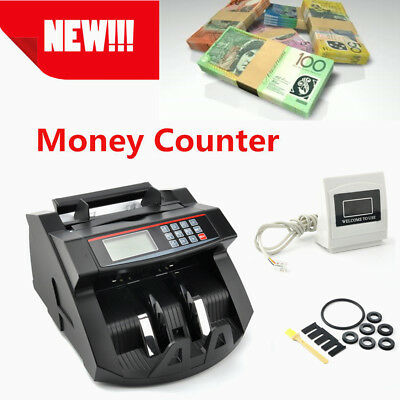 Counterfeit Money Detector Electric Cash Notes Counter With LED Display AU