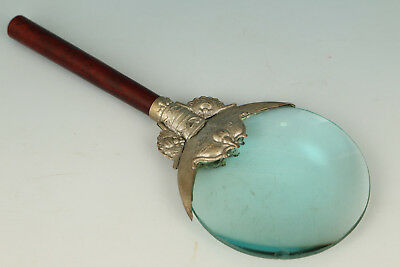 Japan Glass Handmade Inlay Copper Wood Statue magnifying glass
