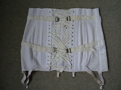 Vintage Classic Camp Fan-Laced Corset Girdle with Suspenders Model 9143 Size 32