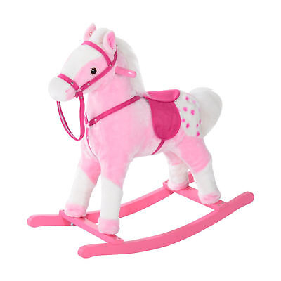 Children Child Kids Plush Rocking Horse with Sound Handle Grip Traditional Toy