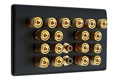 9.2 Matt Black Audio / AV Speaker Wall Face Plate 18 Gold Binding Posts + 2 RCA