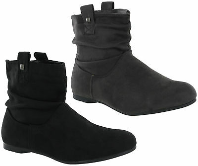 fd52e88a3 Fashion Ankle Pull On Flat Casual Pixie Style Boots Warm Lined Womens UK 3-8