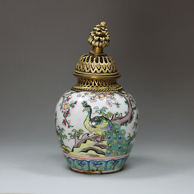 Antique Chinese porcelain famille rose bottle / jar, late 19th century