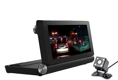 "7"" HD WiFi Bluetooth Car DVR Dual Camera GPS Navigation Android Video Recorder"