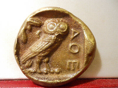 Rare Cast Bronze Medal Coin Athena Sculpture Paperweight Greek Owl Antique Repro