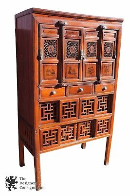 Antique Pine Chinese Red Wedding Cabinet Ming Style Armoire Painted Scenes Tansu