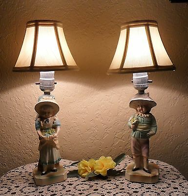 Pair Chic Vintage Hollywood Regency Chalk Ware Country Accent Lamps Lights