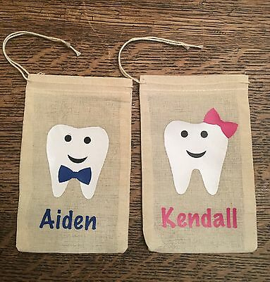 Tooth Fairy Bag/ Personalized Tooth Pouch teeth