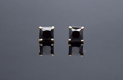 Black Created Diamond Square 14K Solid Yellow Gold Push Back Stud Earrings 2ct