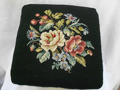 Vintage Heavy Antique Old Handmade Flower Black Needlepoint 4 Wood Leg Stool