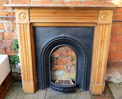 Period Cast Iron Fireplace and Pine Wood Surround