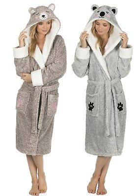 Ladies Two Tone 3D Soft & Cosy Animal Design Novelty Hooded Dressing Gown Girls