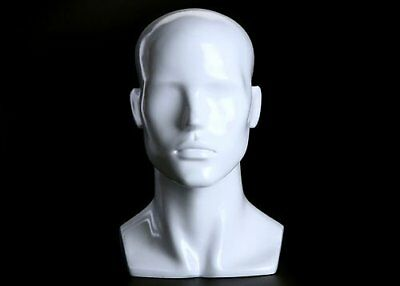"14"" Abstract Male Mannequin Head, White Gloss, Made of Fiberglass (h-9)"