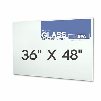 "Magnetic Glass Dry Erase Board - 36"" x 48"" Glass Whiteboard"