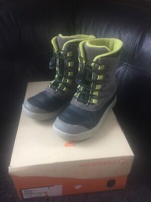 MERRELL Snow Bank Waterproof Grey/Lime Boots Kids Size 1 M