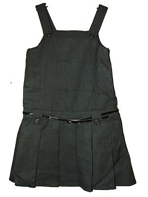NEW GIRLS EX M /& S NAVY ZIP FRONT PLEATED SCHOOL PINAFORE AGE 5-11 EMBROIDERED