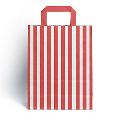 50 x Red Candy Stripe Paper Party Gift Bags with Handles 18cm x 23cm + 8.5cm