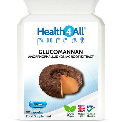 Health4All Glucomannan 1000mg 90 Capsules 1 MONTH SUPPLY | Appetite Suppression