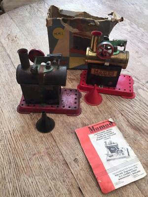 2 x MAMOD M.M.1 STATIONARY STEAM ENGINES  ONE BOXED . BOTH BEEN FIRED UP