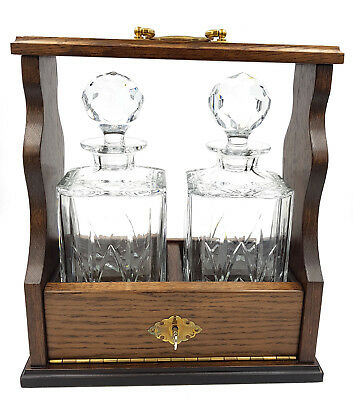 Two Edinburgh Crystal Square Decanters Solid Oak Frame Tantalus Brass Fittings