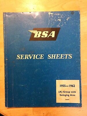 BSA Service Sheets 1955-1962  A group with Swing Arm
