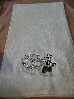 "Border Collie Embroidered Hand Towel White 15"" x 24"" dog"