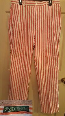 Vtg 80's Izod Striped High Waist Pleated Golf Pants 34×36