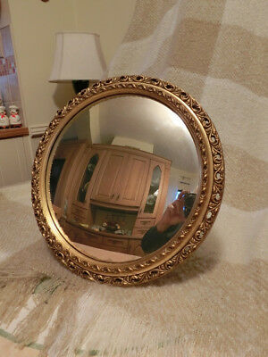 Old French Convex Mirror With Gold Wood Frame