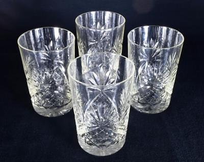 Lead Crystal Glass Small Tumblers Set of 4 Vintage Early 20thC