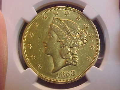 1853  Liberty Double Eagle  Gold $20  Ngc Au 53 Rare Date High Grade Great Coin