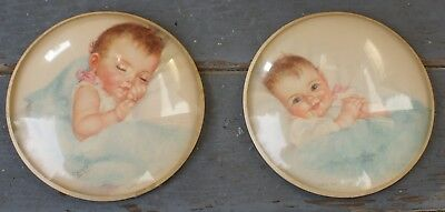 Pair Vintage Peter Watson Framed Prints by Charlotte Becker Baby Pictures