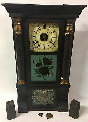 "Antique 32"" Seth Thomas Ogee Weight Driven 8 Day Wood Clock Reverse Paint & Key"