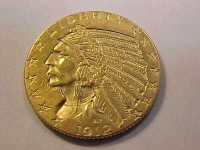 1912 BETTER DATE  Gold Half Eagle, $5 Gold Indian AU - UNC BEAUTIFUL COIN