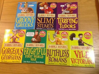 7 x HORRIBLE HISTORIES BOOKS & 3 x HORRIBLE SCIENCE BOOKS BUNDLE CHILDRENS