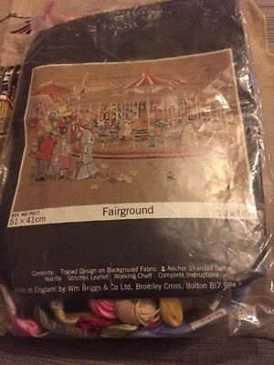 Vintage Fairground Embroidery  51 X 41cm This Has Been Started