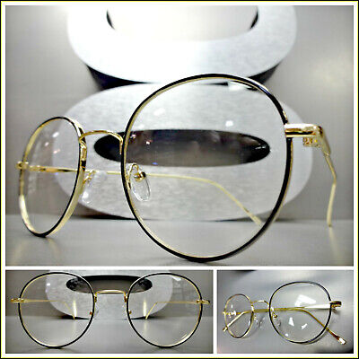 Men's VINTAGE RETRO Style Clear Lens EYE GLASSES Round Oval Gold Fashion Frame