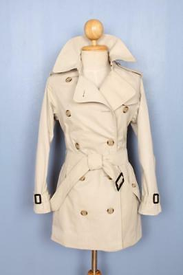 BEAUTIFUL Womens BURBERRY Double Breasted TRENCH Coat Mac SHORT Cream 6/8 S/XS