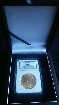 1896 Gold Double Eagle NGC MS62 - slab is displayed in a beautiful rosewood case